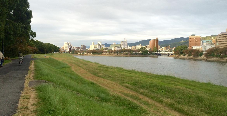 hiroshima river running garden