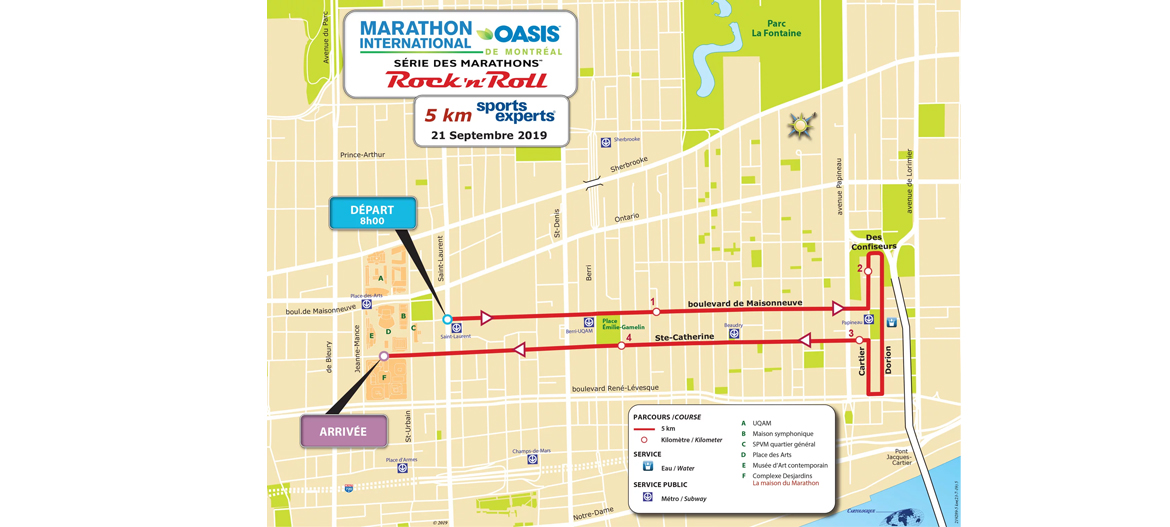 parcours 5km montreal 2019